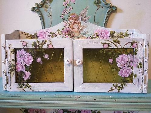 Original Roses and Cherub Painting Shabby Chic Wall Display Shelf Cabinet