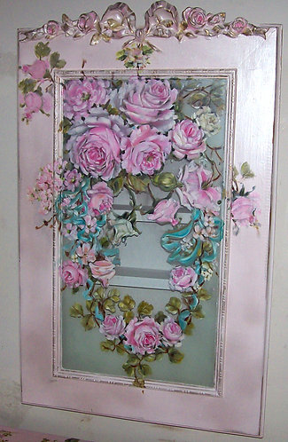 Gorgeous Pearl LustreBlush Pink Hand Painted Roses Medicine Cabinet