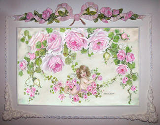 Under The Rose Arbor Toupe Print in Romantic Wood Frame