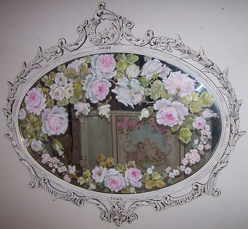 Gorgeous Antique French Ornate Mirror Hand Painted Roses