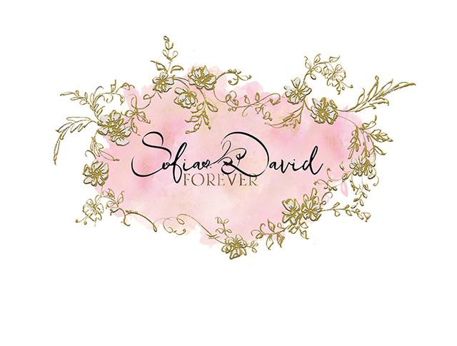 Floral Cartouche Gold Texture-Premade Lo