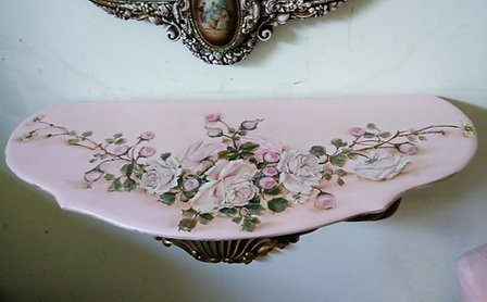 Original Rose Painting Garland Vintage French Demi Accent Table