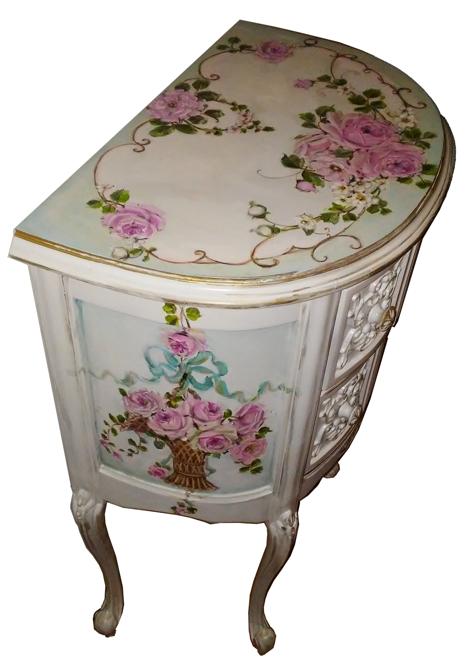 Gorgeous Antique French Demi Nightstand