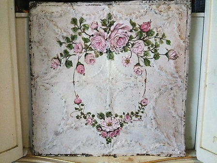 Original Pink Rose Painting Shabby Chic Antique Ceiling Tin Garland Swags