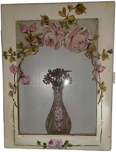 Gorgeous Shabby Chic Clasped Display Glass Box Wall Cabinet