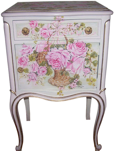 Antique French Rose Basket End Table 2