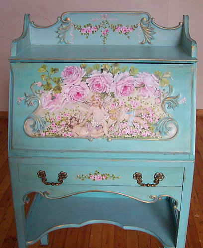 Gorgeous  Antique French Ornate Secretary Desk Hand Painted  Cherubs and Roses