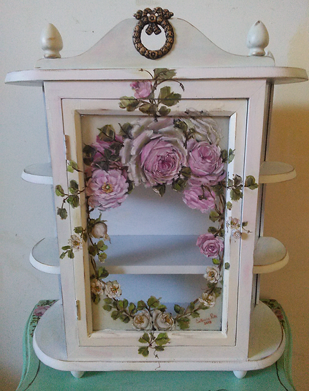 Gorgeous antique Hand painted Roses Shabby Chic Glass Curio Wall Display Cabinet