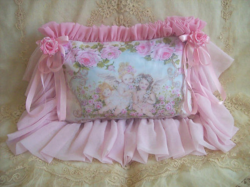 Innocence Cherubs and Roses Romantic Fluffy Pillow