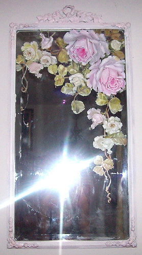 Gorgeous Antique Mirror Roses Spray Hand Painted Roses