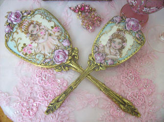Gorgeous French Cherub and Roses Brush and Mirror Set