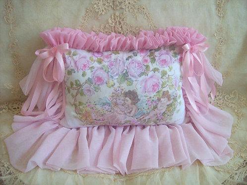 Divine French Romance Cherubs and Roses Blush Boudoir Pillow