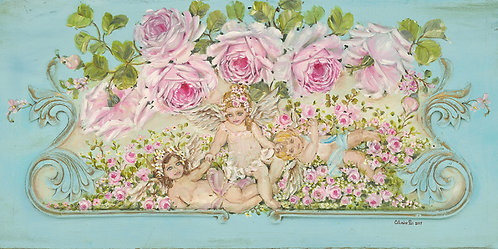 """Friendship"" Romantic Cherubs and Roses Canvas Print"