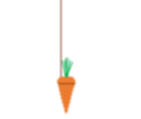 A picture of a carrot dangling on string
