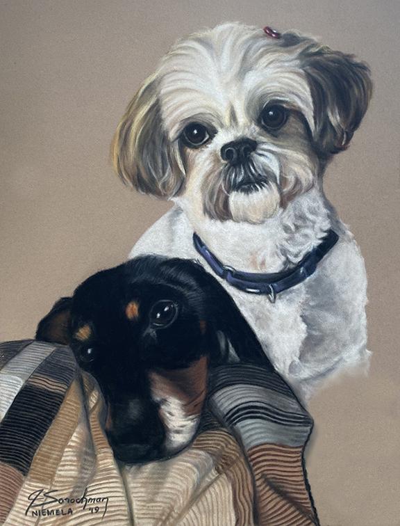 two dog pastel