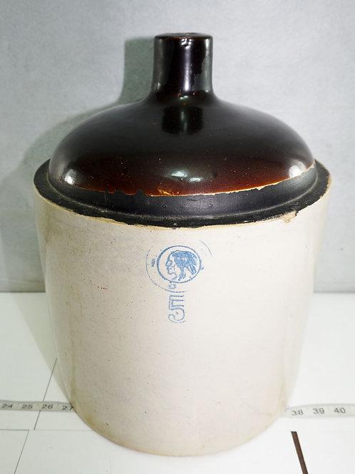 Antique Louisville Indian Head Stoneware 5 Gallon Jug