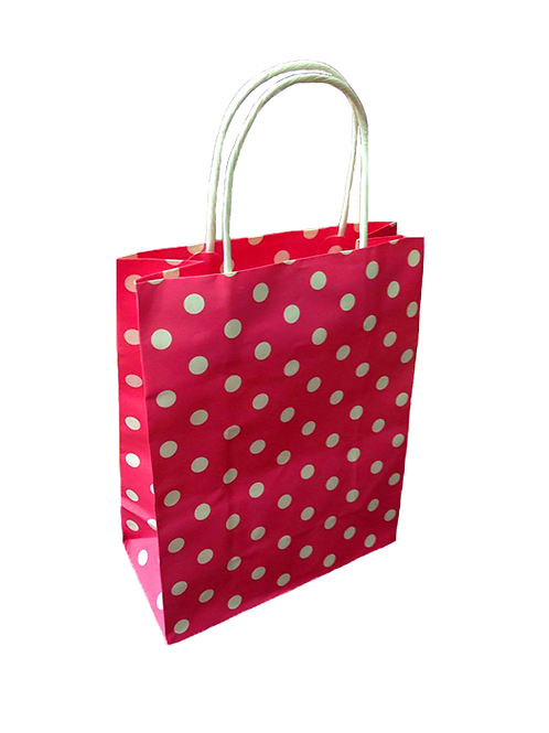Dark Pink Polka Paper Bag