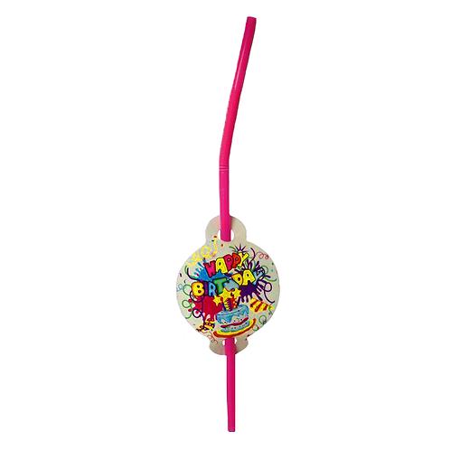Happy Birthday Plastic Straw