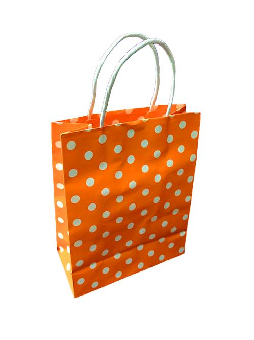 Orange Polka Paper Bag