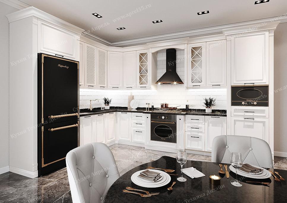Кухня Италия в белом цвете угловая с МДФ фасадом стиль современная классика