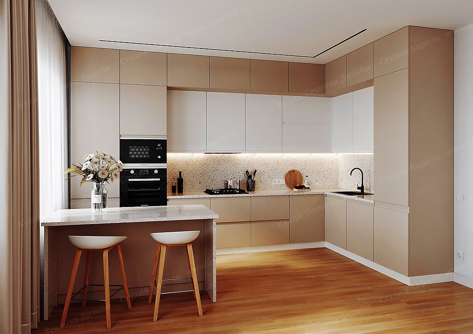 Угловая кухня без ручек в бежевом цвете до потолка