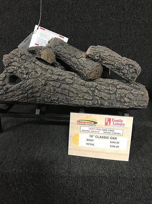 """18"""" Classic Oak Vent Free Gas Logs"""