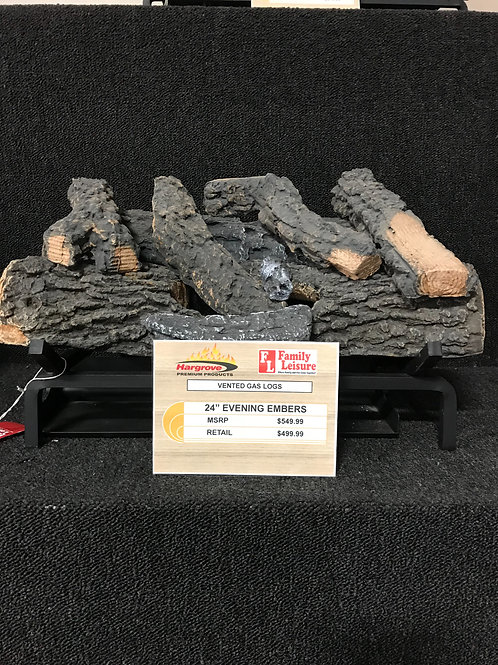 "24"" Evening Embers Vented Gas Logs"