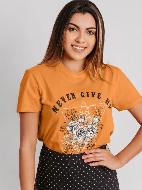 T-SHIRT MOSTARDA NEVER GIVE UP