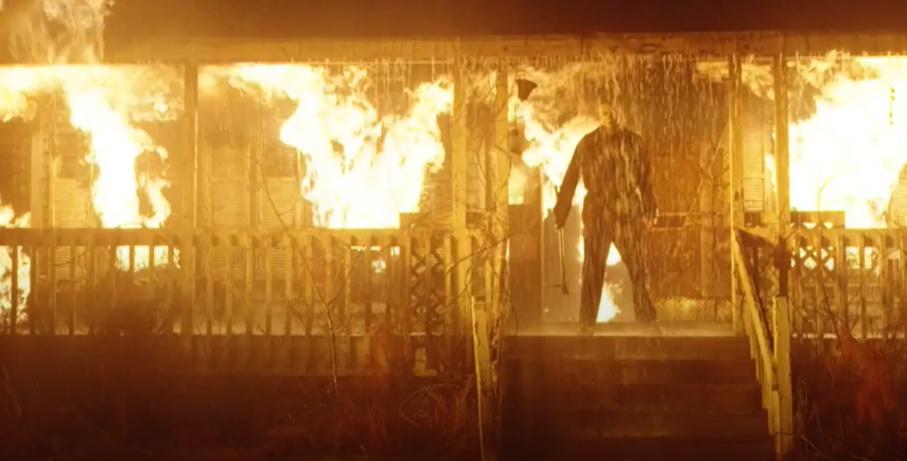 Michael Myers on fire in Halloween Kills