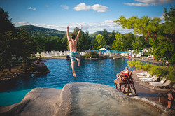 Crystal Resort Jumping into the pool