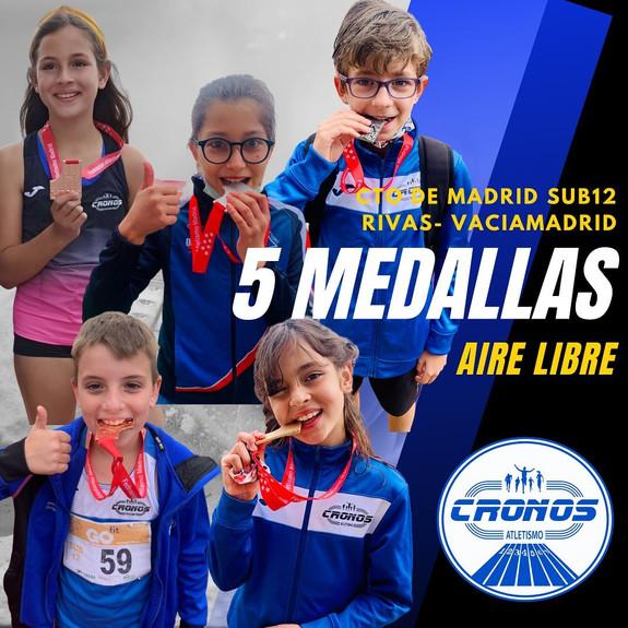5 MEDALLAS EN CTO DE MADRID SUB 12