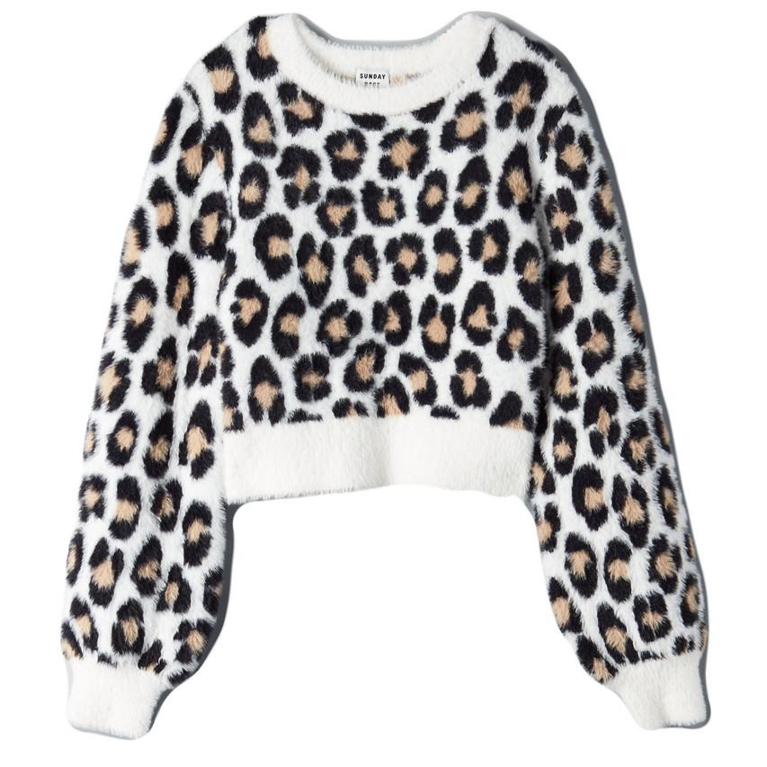 White Animal Print Sweater Kitten Seater Aritzia