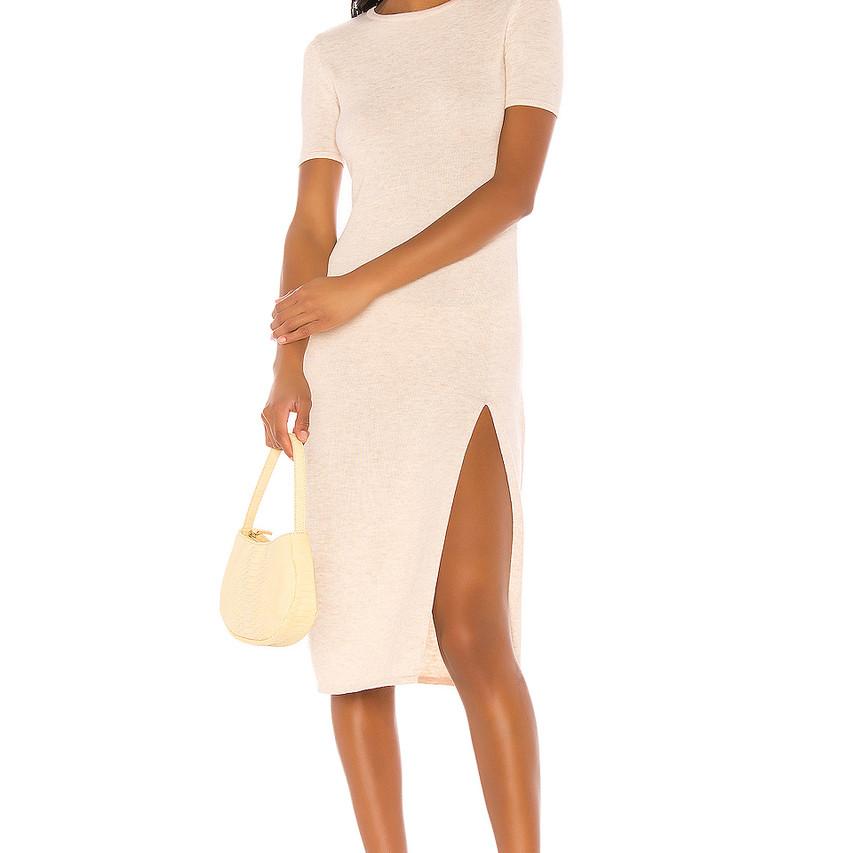 Neutral Midi T Shirt Dress Song of Style Revolve