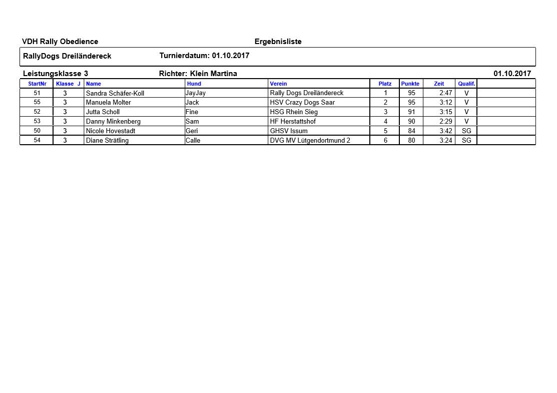 Ergebnisse Klasse 3