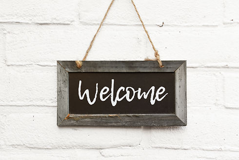 Chalkboard sign board with text welcome