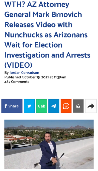 WTH? AZ Attorney General Mark Brnovich Releases Video with Nunchucks as Arizonans Wait for Election