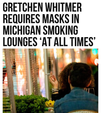 Whitmer Requires Masks in Michigan Smoking Lounges 'at All Times'