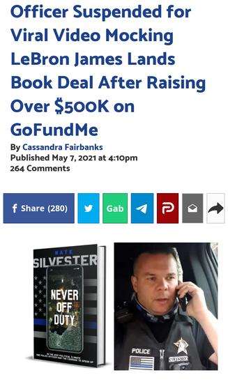Officer Suspended for Viral Video Mocking LeBron James Lands Book Deal After Raising Over $500K