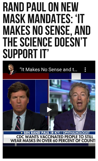 Rand Paul on New Mask Mandates: 'It Makes No Sense, and the Science Doesn't Support It'