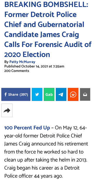Former Detroit Police Chief and Gubernatorial Candidate James Craig Calls For Forensic Audit