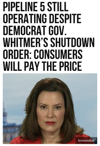 Pipeline 5 Still Operating Despite Democrat Gov. Whitmer's Shutdown Order