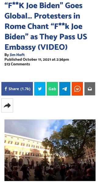 """F**K Joe Biden"" Goes Global… Protesters in Rome Chant ""F**k Joe Biden"" as They Pass US Embassy"