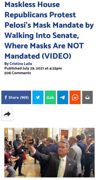 Maskless House Republicans Protest Pelosi's Mask Mandate by Walking Into Senate