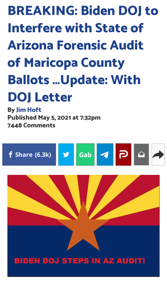 Biden DOJ to Interfere with State of Arizona Forensic Audit of Maricopa County Ballots