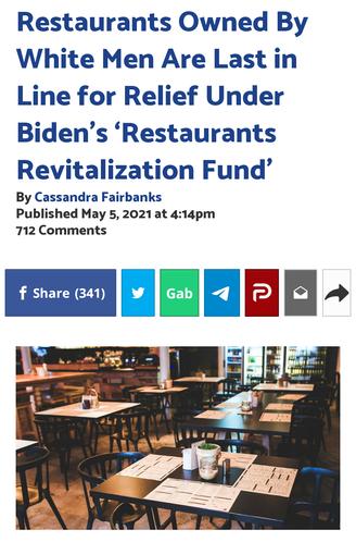 Restaurants Owned By White Men Are Last in Line for Relief Under Biden's 'Restaurants Revitalization