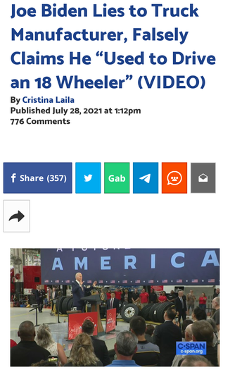 "Joe Biden Lies to Truck Manufacturer, Falsely Claims He ""Used to Drive an 18 Wheeler"" (VIDEO)"