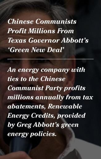 Chinese Communists Profit Millions From Texas Governor Abbott's 'Green New Deal'