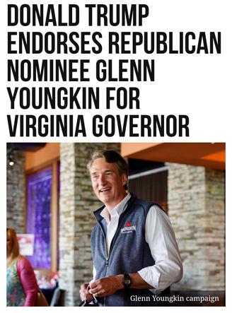 Donald Trump Endorses Republican Nominee Glenn Youngkin for Virginia Governor