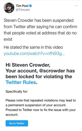 Steven Crowder has been suspended from Twitter after proving Voter Fraud