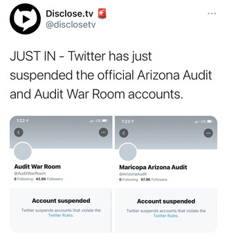 Twitter has just suspended the official Arizona Audit and Audit War Room accounts.